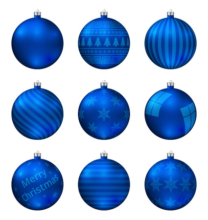 Blue christmas balls isolated on white background. Photorealistic high quality vector set of christmas baubles.