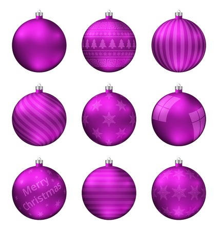 Pink christmas balls isolated on white background. Photorealistic high quality vector set of christmas baubles.
