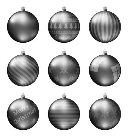 Zwarte kerstballen geïsoleerd op een witte achtergrond. Fotorealistische hoge kwaliteit vector set kerstballen.