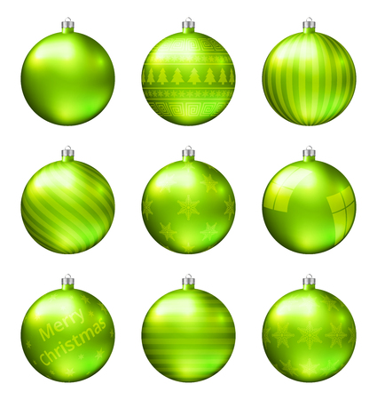 Light green christmas balls isolated on white background. Photorealistic high quality vector set of christmas baubles. Stock Illustratie