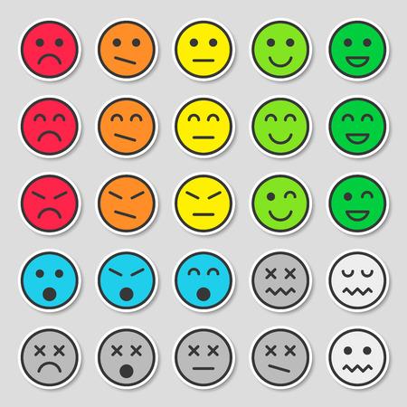 Set van kleurrijke emoticons. Platte en mooie stickers. Vectorillustratie, geïsoleerd op een grijze achtergrond.