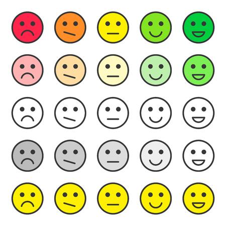 Définir le retour d'échelle des visages. Examen de la qualité du service client. Émoticônes d'évaluation. Vecteur. Isolé sur fond blanc. Vecteurs