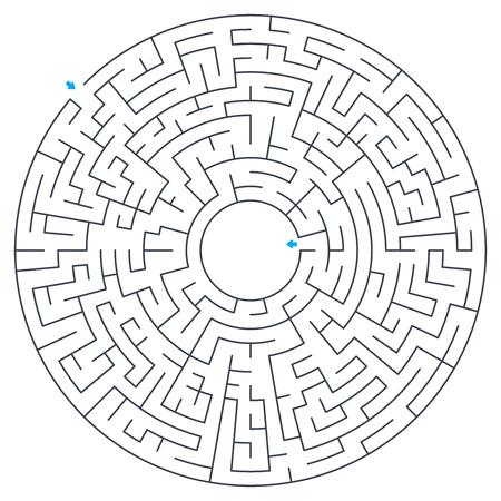 Maze, labyrinth, vector illustration. Round, circular maze. High quality vector. Vettoriali