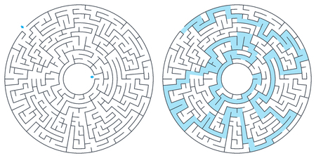 Maze, labyrinth with solution, vector illustration. Round, circular maze. High quality vector.