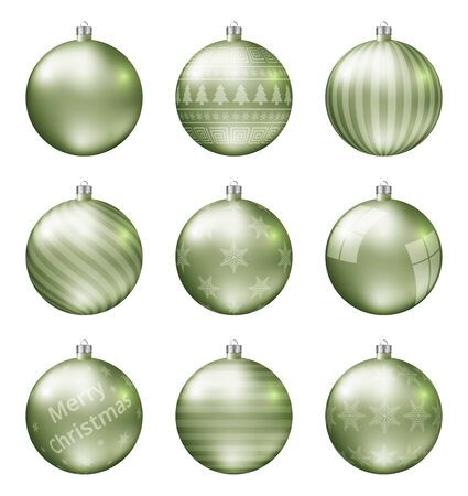 Pastel light green christmas balls isolated on white background. Photorealistic high quality vector set of christmas baubles.
