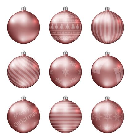 Pastel red christmas balls isolated on white background. Photorealistic high quality vector set of christmas baubles.