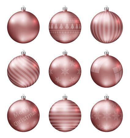Pastel rode kerstballen geïsoleerd op een witte achtergrond. Fotorealistische hoge kwaliteit vector set kerstballen. Vector Illustratie