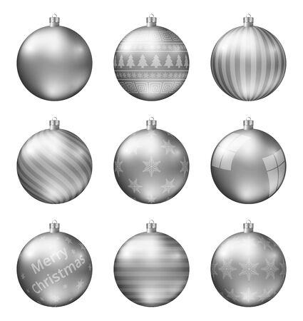 Pastel zilveren kerstballen geïsoleerd op een witte achtergrond. Fotorealistische hoge kwaliteit vector set kerstballen.