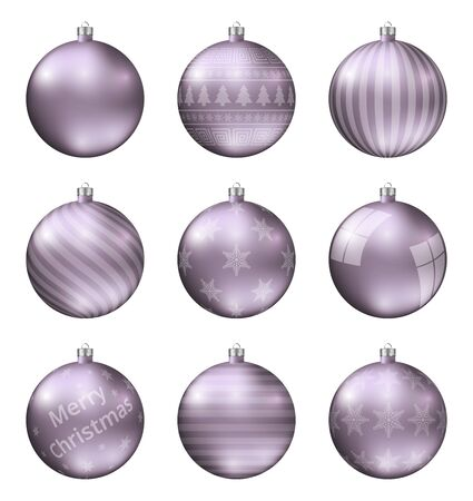 Pastel violet christmas balls isolated on white background. Photorealistic high quality vector set of christmas baubles.