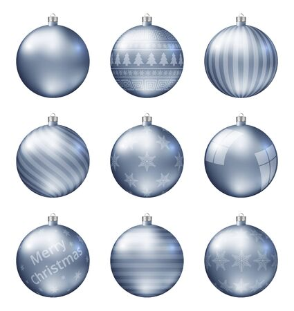 Pastel blue christmas balls isolated on white background. Photorealistic high quality vector set of christmas baubles.