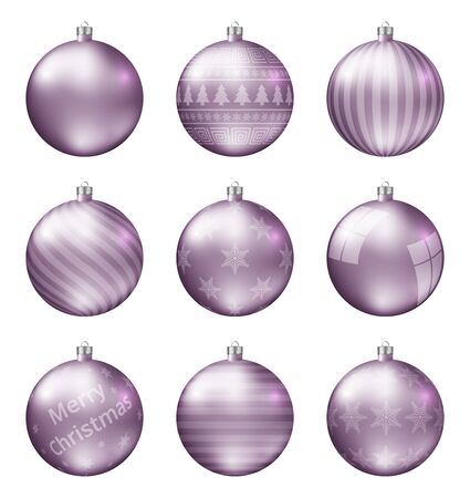 Pastel pink christmas balls isolated on white background. Photorealistic high quality vector set of christmas baubles.  イラスト・ベクター素材