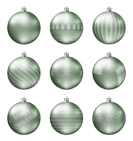 Pastel green christmas balls isolated on white background. Photorealistic high quality vector set of christmas baubles.  イラスト・ベクター素材