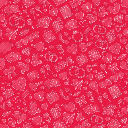 Hand drawn seamless pattern. Vector illustration. Colored chalk on red background. Vector repeating red texture for Valentine's Day - love symbol repeating background with crayon.