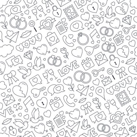 Seamless love background. Repeatable love icons vector pattern - outline style icons collection. Valentines day, mothers day, wedding, love and romantic events. Vector
