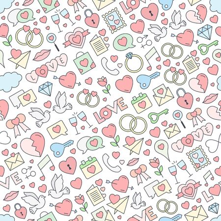 Seamless love background pattern. Vector repeating texture for Valentine's Day - stroked love icons background with pastel colors. Vector.