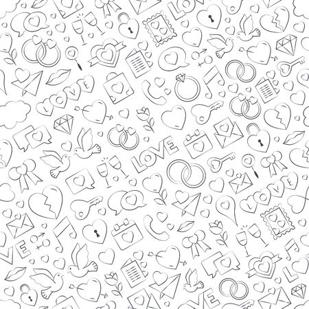 Seamless love pattern vector illustration - freehand drawing. Repeatable love vector background - love symbols collection. Valentines day, mothers day, wedding, love and romantic events. Vector