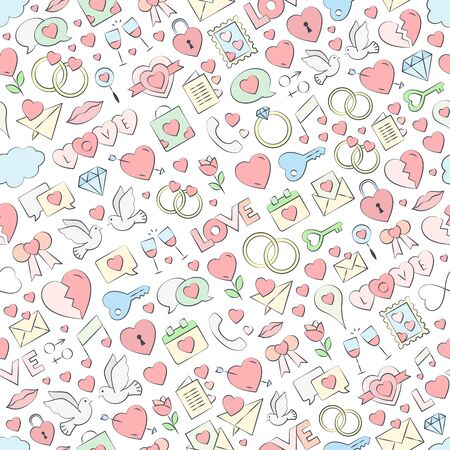 Hand drawn seamless love pattern vector illustration. Vector repeating texture for Valentine's Day - love symbols collection background with pastel colors.