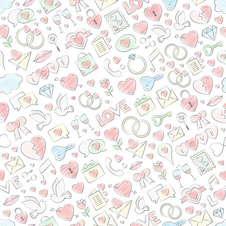 Hand drawn seamless pattern. Vector illustration with chalk colored filling. Vector repeating texture for Valentine's Day - love symbol repeating background with crayon pastel colors.