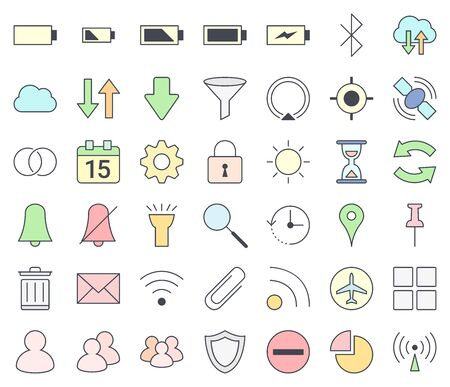 Mobile phones and smartphones interface outline icon set, filling with pastel colors - vpn, hotspot, gps, settings, calendar, cell