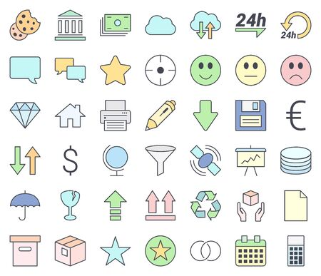 Web design, SEO and development thin line vector icon set, filling with pastel colors, isolated on white background.