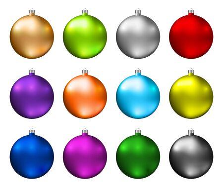 Adornos navideños coloridos. Espectro de colores de bolas de Navidad aisladas sobre fondo blanco. Vector fotorrealista de alta calidad.
