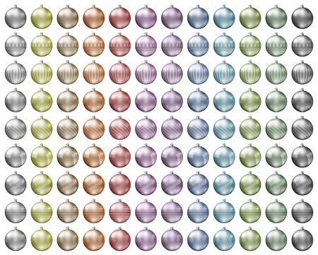 Pastel christmas baubles. Pastel color spectrum of christmas balls isolated on white background. Photorealistic high quality vector.