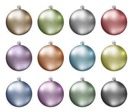 Pastelkleurige kerstballen. Pastel kleurenspectrum van kerstballen geïsoleerd op een witte achtergrond. Fotorealistische hoge kwaliteit vector.