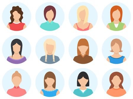 Women avatar set isolated on white background. Simple shape women avatar. Set of women avatar icons. High quality vector illustration.