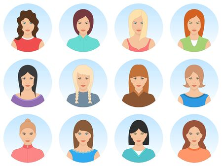 Beautiful women avatar set isolated on white background. Sexy smiling women avatar. Cute young girls portrait with different hair styles. High quality vector illustration.