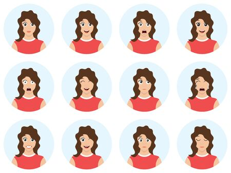 Beautiful woman with different facial expressions. Sexy woman avatar set isolated on white background. Vector illustration.