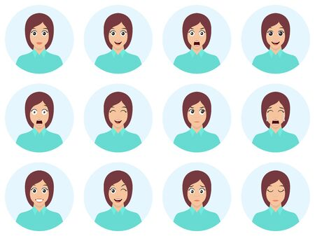 Set of woman's emotions. Cute brunette facial expression. Girl avatar. Flat design vector illustration of different facial expressions.