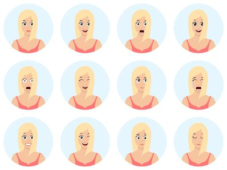 Sexy and beautiful young girl avatars with different expressions. Girl emotion faces cartoon vector illustration. Woman emoji face cute symbols. Human expression sign.  イラスト・ベクター素材