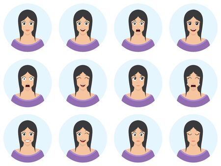 Pretty woman with different facial expressions set. Pack of emotions - young girl avatar in flat cartoon style. Vector illustration.