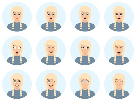 Attractive blond woman with different facial expressions. Vector cartoon avatar icon set on white background - flat design illustration. Cartoon character.