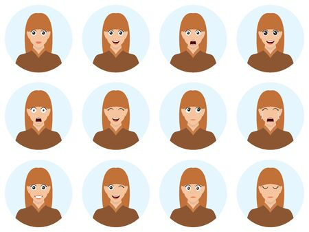 Woman avatar set vector illustration with different emotions. Beautiful young brunette girls portrait with many facial expressions. Vector illustration isolated on white background.