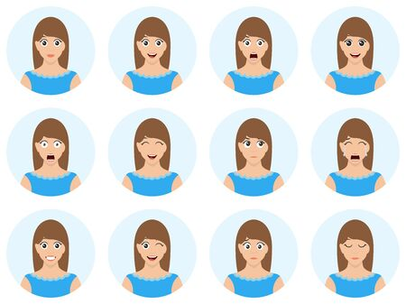 Beautiful girl in blue skirt with different facial expression. Cute and sexy woman avatar. Many various facial emotions. High quality vector illusrration.