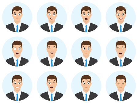 Set of man face and different emotions. Business man cartoon character. Avatar different expressions pack. Vector illustration.  イラスト・ベクター素材