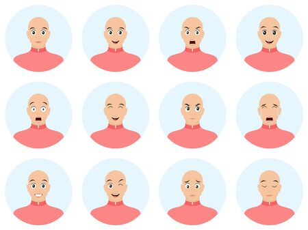Bald man with different facial expressions. Emotions and expressions avatar set. Cartoon vector illustration.