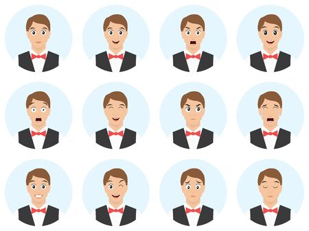 Emotions and expressions set. Waiter - man with different emotions and facial expressions. Avatar pack - vector illustration.  イラスト・ベクター素材