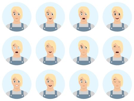 Set of male facial emotions. Handsome blond man emoji character with different expressions. Vector illustration in cartoon style. Avatar set of different emotions.