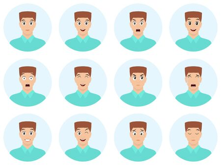 Avatars with expressions and emotions. Young man wint twelve facial expressions. Joy, laughter, sorrow, sadness, anger, rage, surprise, shock, crying.  イラスト・ベクター素材