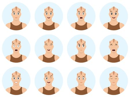 Cartoon skinhead with different emotions and facial expression. Happy, sad, cry, surprised, tired, in love, kiss, laugh, angry, dizzy and other emotions. Vector illustration.