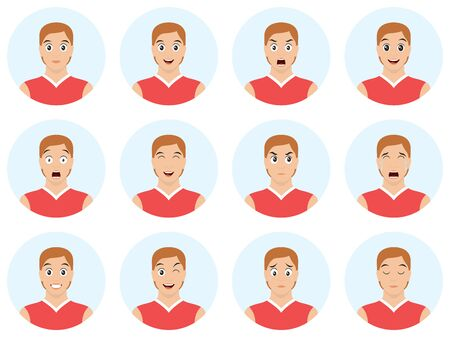 Set of young, handsome man emoticons. Man avatars showing different facial expressions. Cartoon style emotion icons. Vector illustration.