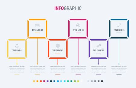 Infographic template. 6 options rectangular design with beautiful colors. Vector timeline elements for presentations. Standard-Bild - 128516900