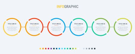 Colorful diagram, infographic template. Timeline with 6 steps. Circle workflow process for business. Vector design.