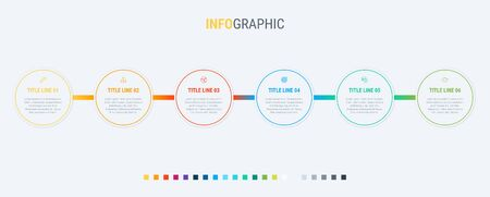 Vector infographics timeline design template with rounded elements. Content, schedule, timeline, diagram, workflow, business, infographic, flowchart. 6 steps infographic. Standard-Bild - 128516840