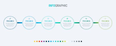 Vector infographics timeline design template with circle elements. Content, schedule, timeline, diagram, workflow, business, infographic, flowchart. 6 options infographic.  イラスト・ベクター素材