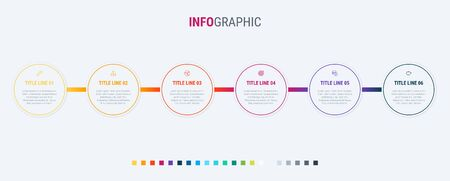 Timeline infographic design vector. 6 steps, rounded workflow layout. Vector infographic timeline template. Standard-Bild - 128516841