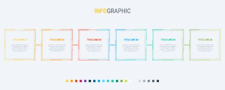 Infographic template. 6 steps square design with beautiful colors. Vector timeline elements for presentations.  イラスト・ベクター素材