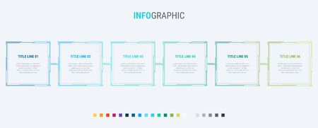 Infographic template. 6 options rectangular design with beautiful colors. Vector timeline elements for presentations.